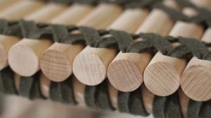 Banquette banc Adélaïde - bois, feutre, cuir - ornement recherche - mobilier sur-mesure