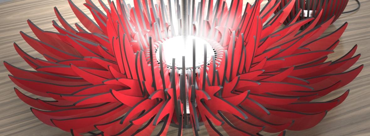 Lampe ouverture-fermeture - lumière évolutive - Anja Clerc - éclosion - fleur - projet luminaire
