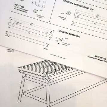 Mis en plans - fabrication mobilier (banquette) - Anja Clerc Design