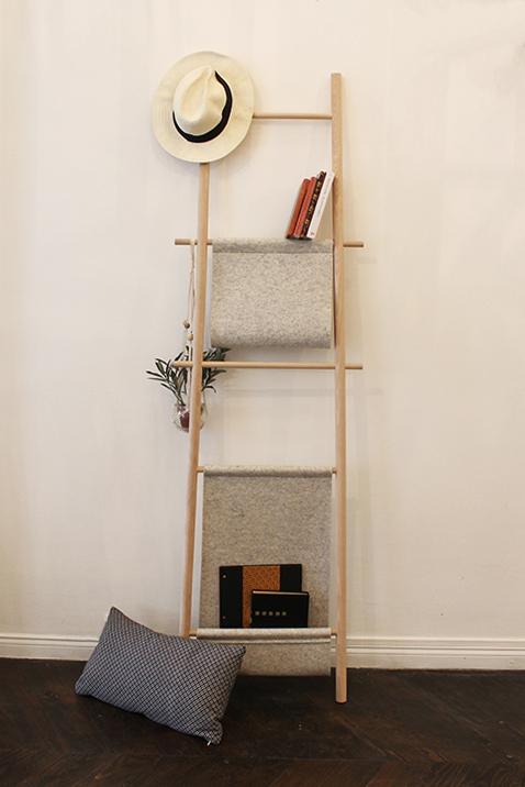 Valet Nestor - feutre et bois - Made in France - Design eco-responsable