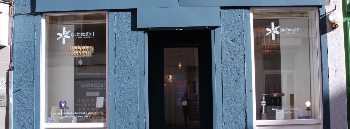 Façade Showroom/Atelier à Saint-Etienne (Ça frézille ! L'atelier du designer), rue marengo, centre-ville