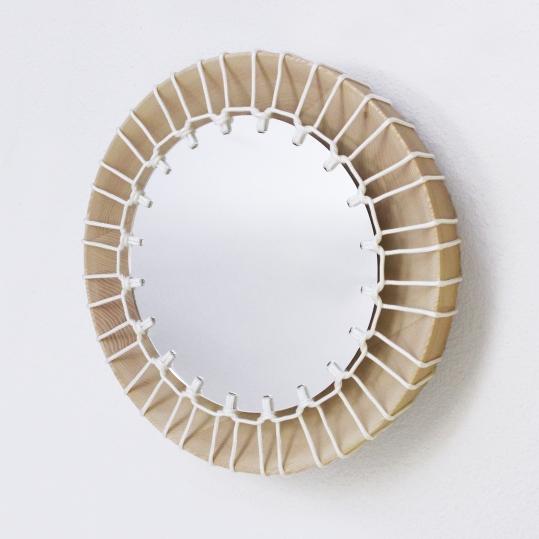Miroir bois et corde, tressage, djembe, eco-design Rhône-Alpes