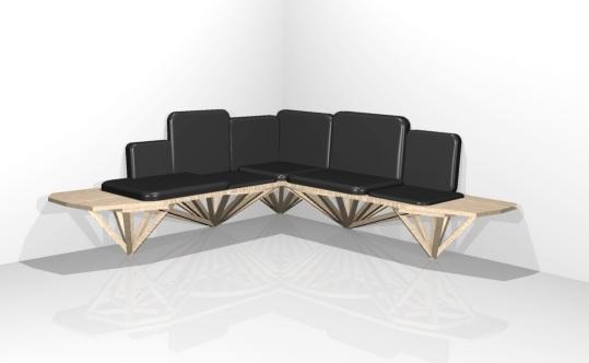 Banquette Compagnon, Design Anja Clerc, Projet mobilier sur-mesure
