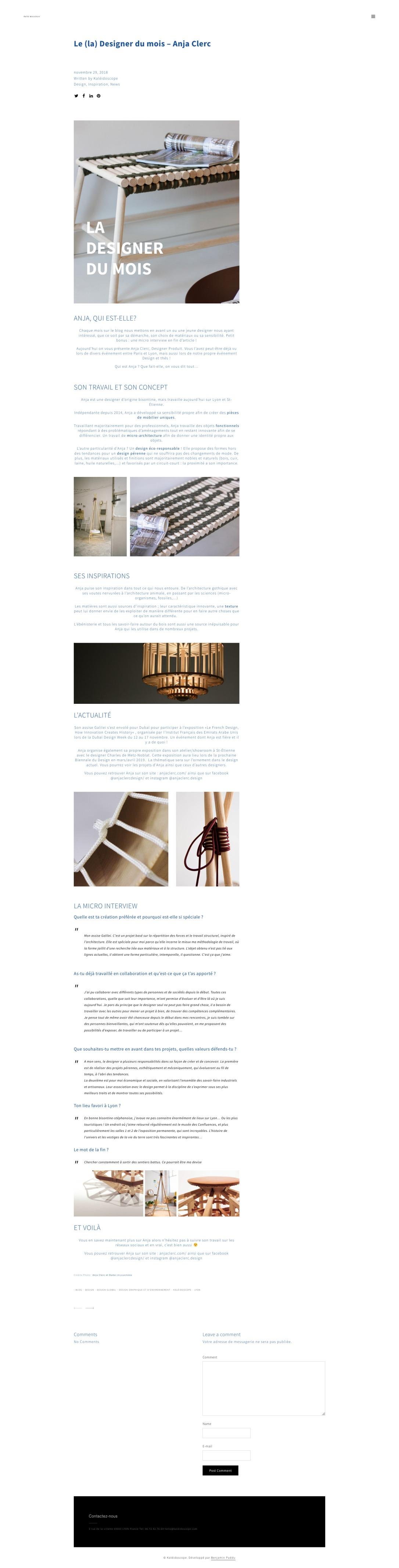 article Kaléidoscope designer du mois